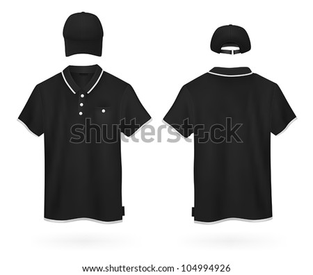 Plain polo shirt and a baseball cap template. - stock vector