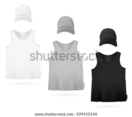 Plain sleeveless shirt and hat. - stock vector