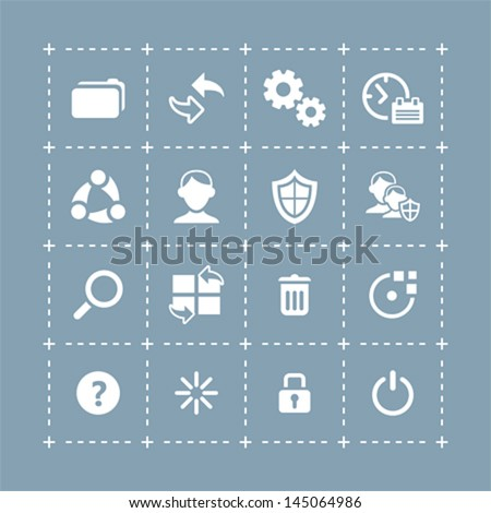 Plain system icons for mobile and tablet devices - stock vector