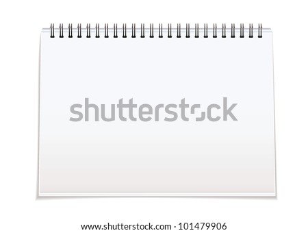Plain white paper note pad with spiral bind spine and shadow - stock vector