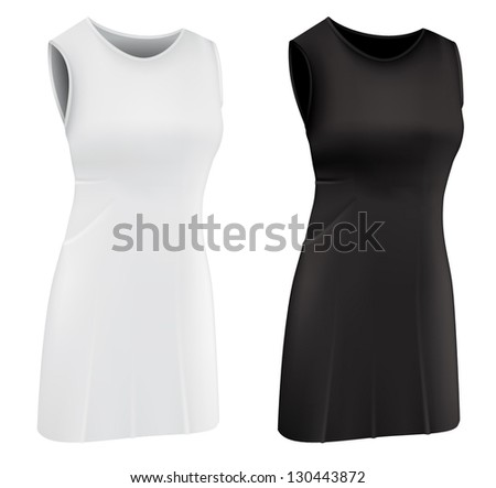 Plain women's netball dress template. - stock vector