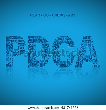 Plan do check act  typography background. Blue background with main title PDCA filled by other words related with plan do check act  method. Vector illustration
