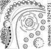 Plan of garden with symbols of tree - stock vector