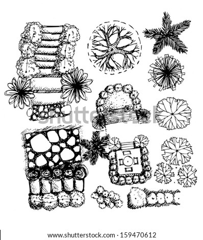 Plan of Landscape and Garden and Trees top view for architecture landscape design projects  - stock vector