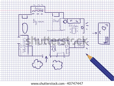 Plan of the family flat - stock vector