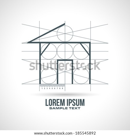 plan project house design in vector format - stock vector