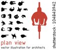 Plan view silhouettes for architectural designs. Vector illustration - stock vector