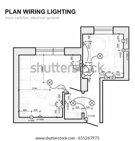plan wiring lighting electrical schematic interior stock vector rh shutterstock com Basic Electrical Wiring Diagrams Wiring Schematics for Cars