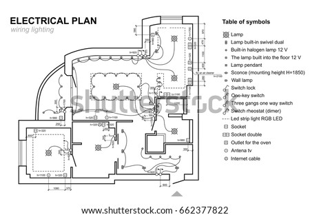 Plan wiring lighting electrical schematic interior vectores en stock electrical schematic interior set of standard icons switches electrical symbols malvernweather Choice Image