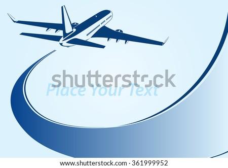 Plane abstract lines vector logo. Vector illustration - stock vector