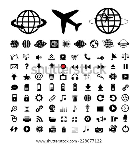 plane and globe vector icons set  - stock vector