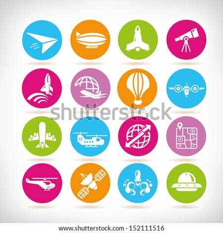 plane and space icons, round button set - stock vector