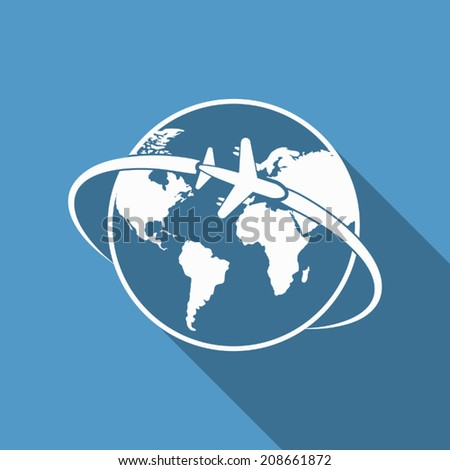 plane around the world icon with long shadow - stock vector