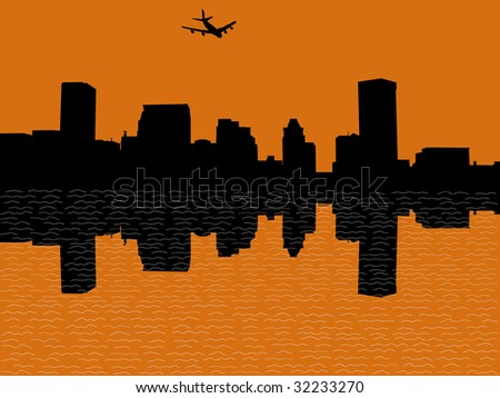 plane arriving in Baltimore at sunset illustration