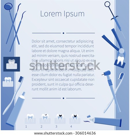 Plane blue dental icons and place for your text. Vector. Medicine. - stock vector