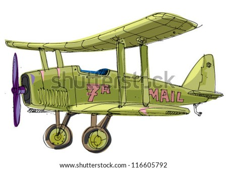 plane - cartoon - stock vector