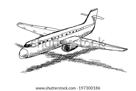 plane, doodle illustration - stock vector