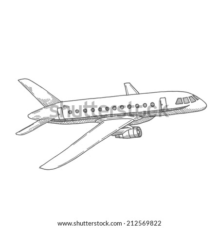 plane drawn - stock vector