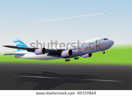 Plane flies up on blue, green background with runway.