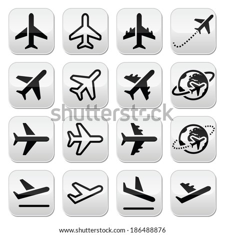 Plane, flight, airport buttons set - stock vector
