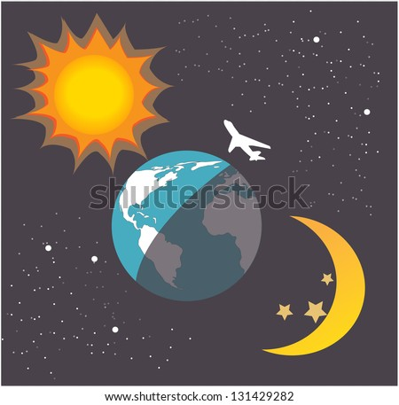 Plane fly over the world with moon and sun for day and night time - stock vector