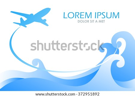 Plane flying above the sea wave, vector illustration, tourism and recreation