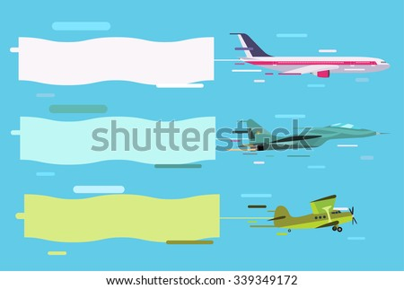 Plane flying with advertising banners. Planes set banners. Plane flying with banners. Plane vector, plane isolated, plane silhouette. Plane vector silhouette banner isolated. Flat modern design - stock vector