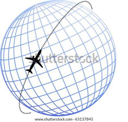 plane globe - stock vector