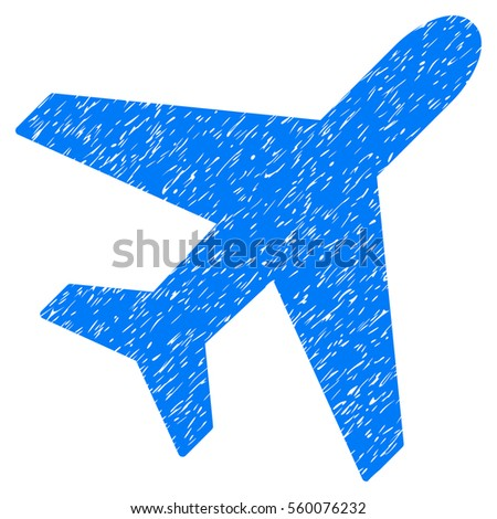 Plane grainy textured icon for overlay watermark stamps. Flat symbol with dust texture. Dotted vector blue ink rubber seal stamp with grunge design on a white background.