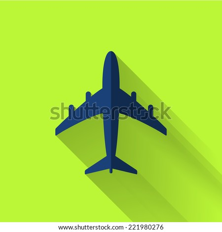 plane icon in colorful flat design style  - stock vector