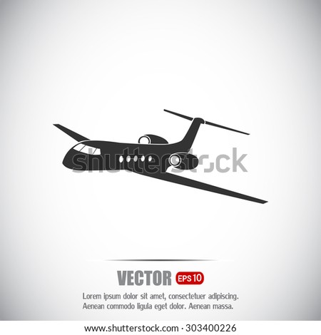 plane icon in flat design style - stock vector
