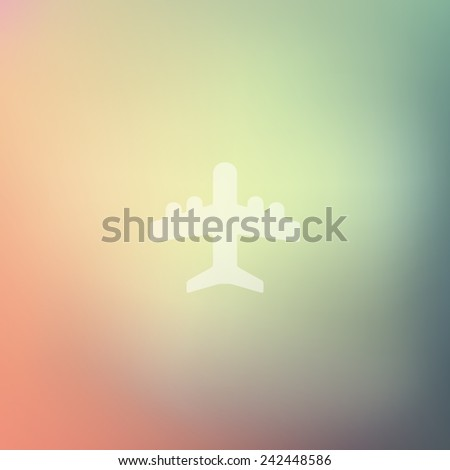 plane icon on blurred background - stock vector