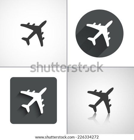 Plane icons. Set elements for design. Vector illustration. - stock vector