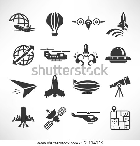 plane icons, space icons - stock vector