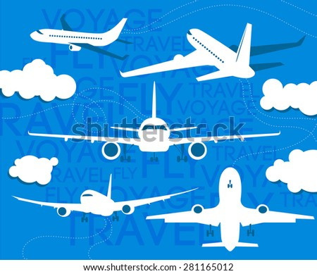 Plane illustrations collection. Travel themed image. - stock vector