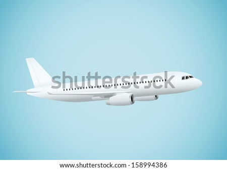 Plane in blue background - stock vector