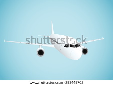 Plane in blue background. Vector illustration - stock vector