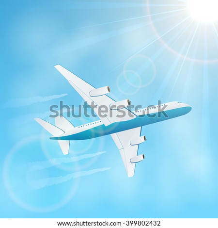 Plane in the blue sky with vapor trail, illustration. - stock vector