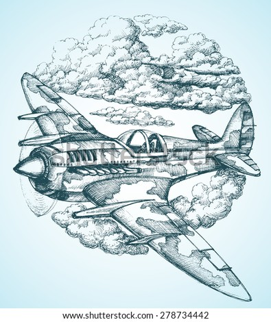 Plane in the sky round icon - stock vector