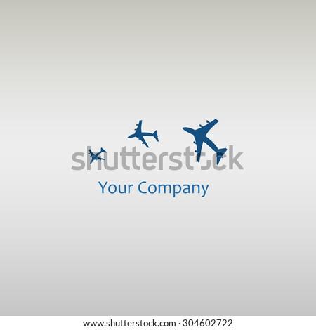 Plane Logo Design. Creative vector icon with plane - stock vector