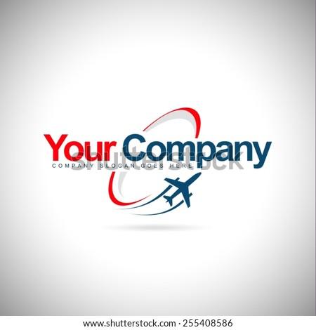 Plane Logo Design. Creative vector icon with plane and ellipse shape. - stock vector