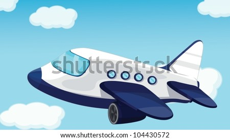 plane on a blue sky background - stock vector