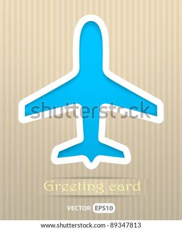 Plane postcard vector illustration - stock vector