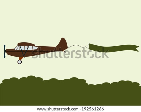 plane pulling banner flat design illustration with minimalist elements for web design - stock vector