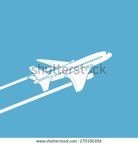 Plane silhouette against the sky. Vector image. - stock vector
