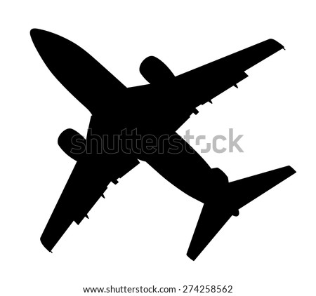 plane silhouette on a white background, vector illustration - stock vector