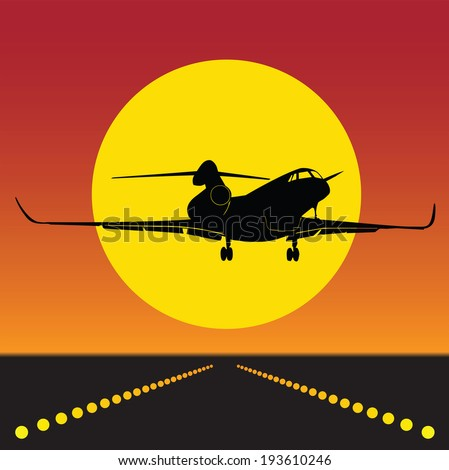 plane takeoff in silhouette 0100 - stock vector