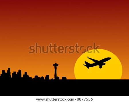 plane taking off at sunrise and Seattle skyline illustration - stock vector