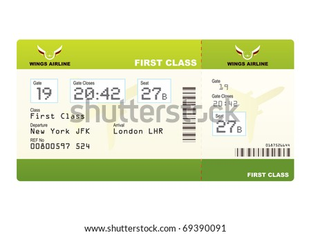Plane ticket first class green travel with stub and gate number - stock vector