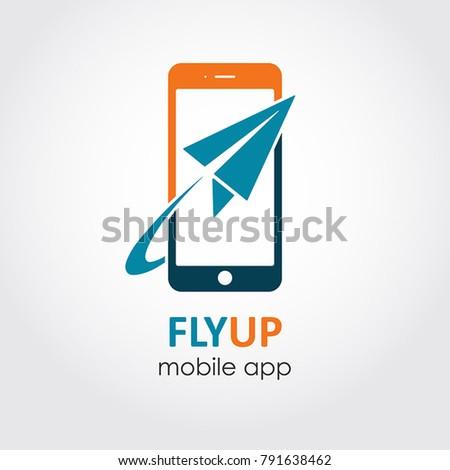 Plane Ticket Reservation App Icon Booking Flight On Line Flat Style Logo Symbol